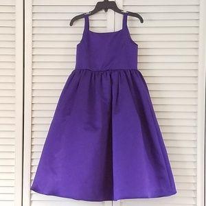 Purple Satin Flower Girl Dress with Tulle Skirt